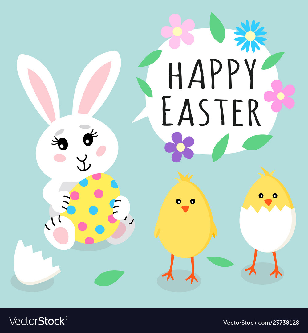 Easter greeting card cute rabbit bunny holding