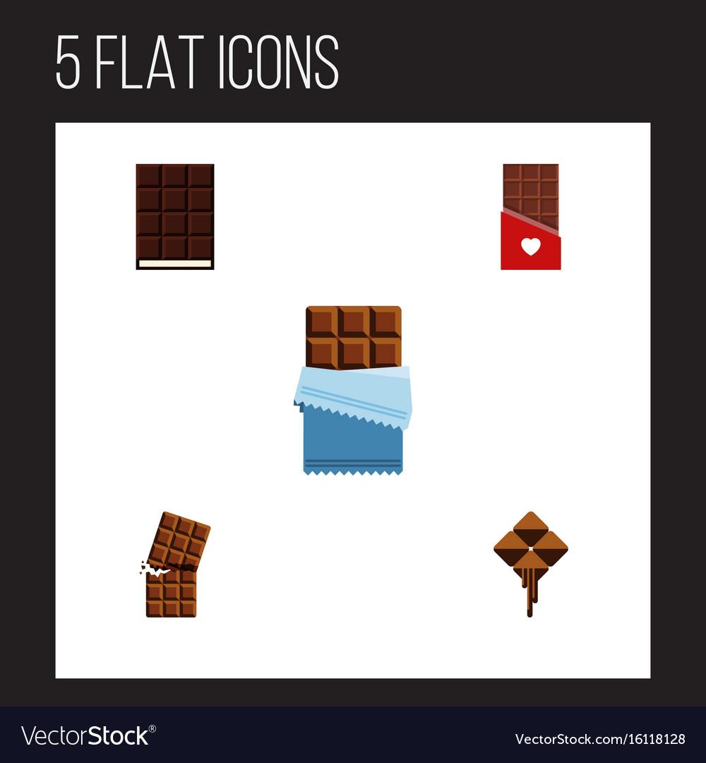 Flat icon chocolate set of dessert bitter vector image