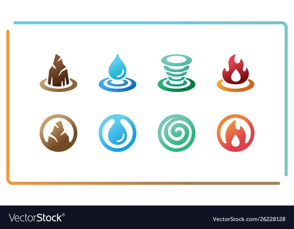 Four element icon set