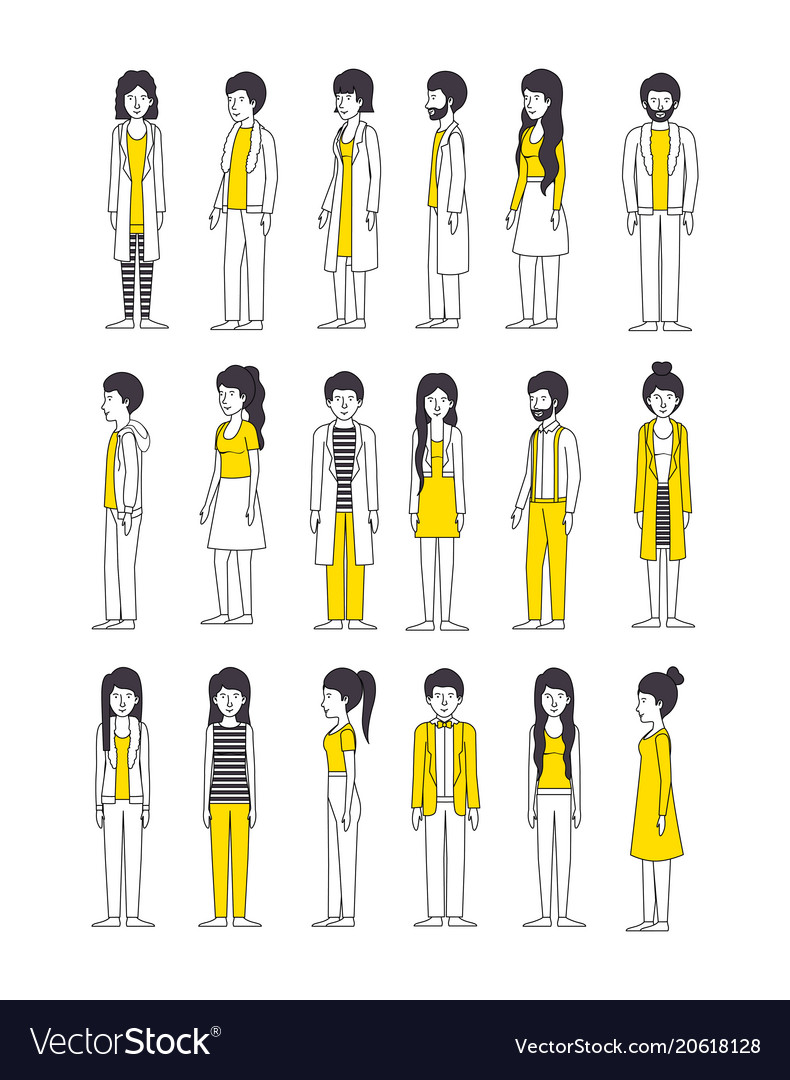 group of people with yellow clothes royalty free vector