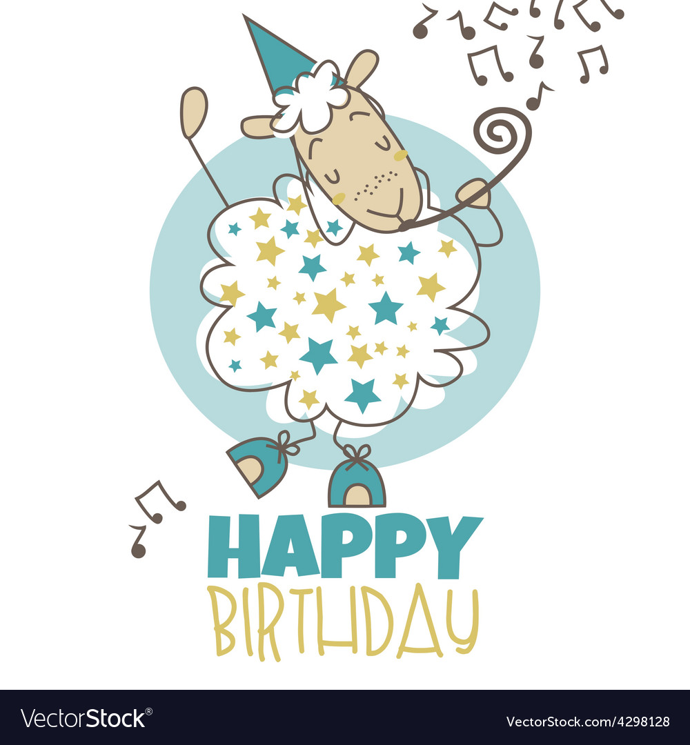 Happy Birthday Sheep Royalty Free Vector Image