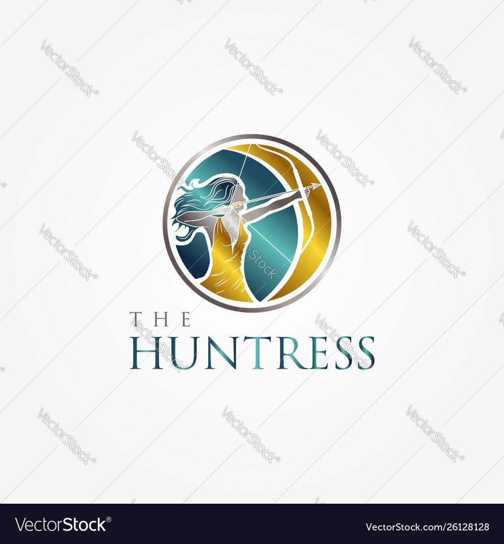 Huntress archery elegant logo symbol