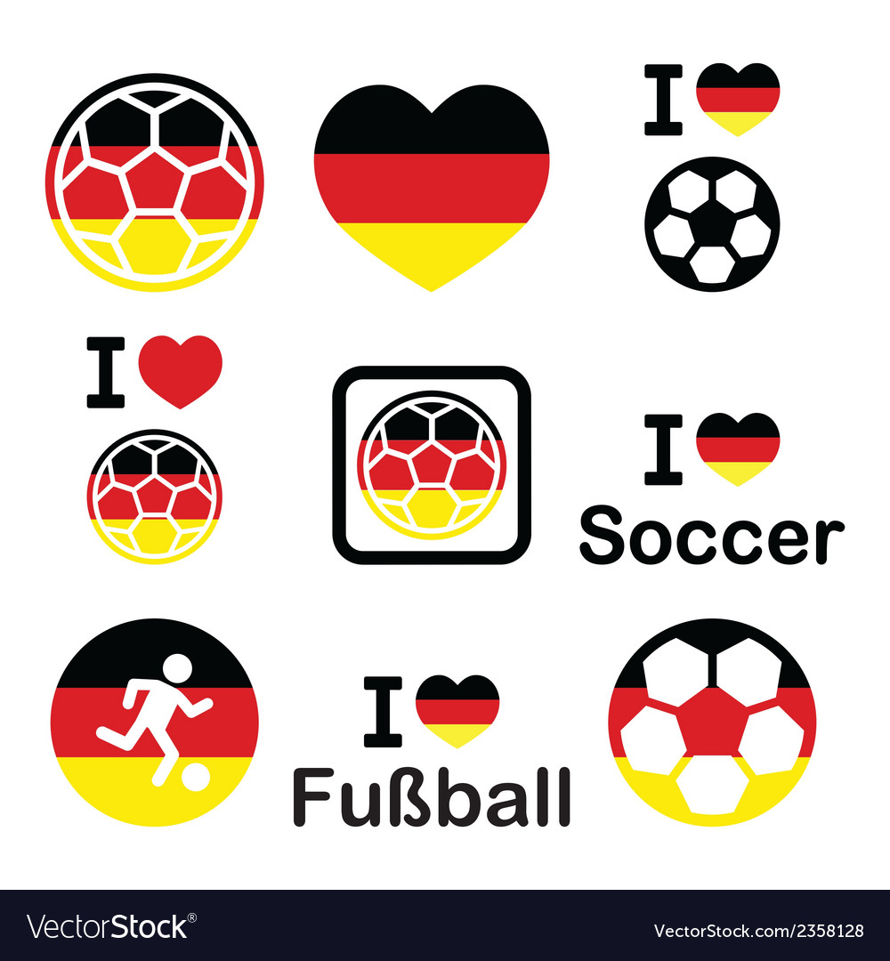I Love German Football Soccer Icons Set Royalty Free Vector