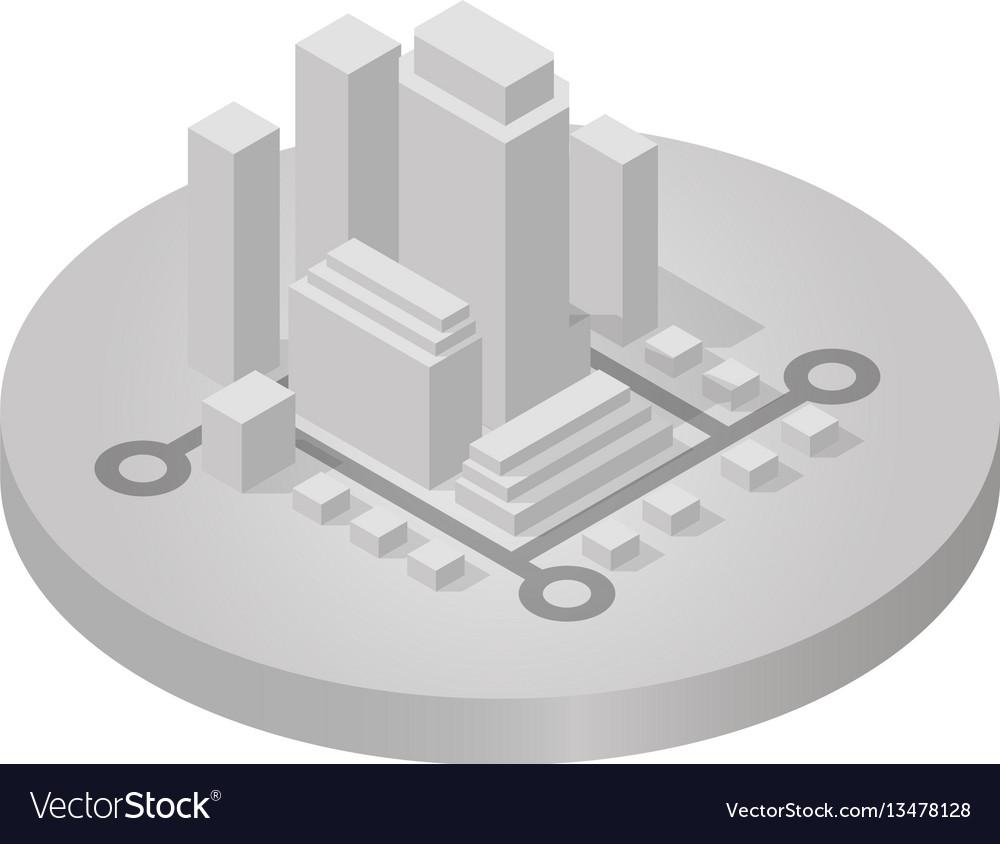 Isometric icon of city