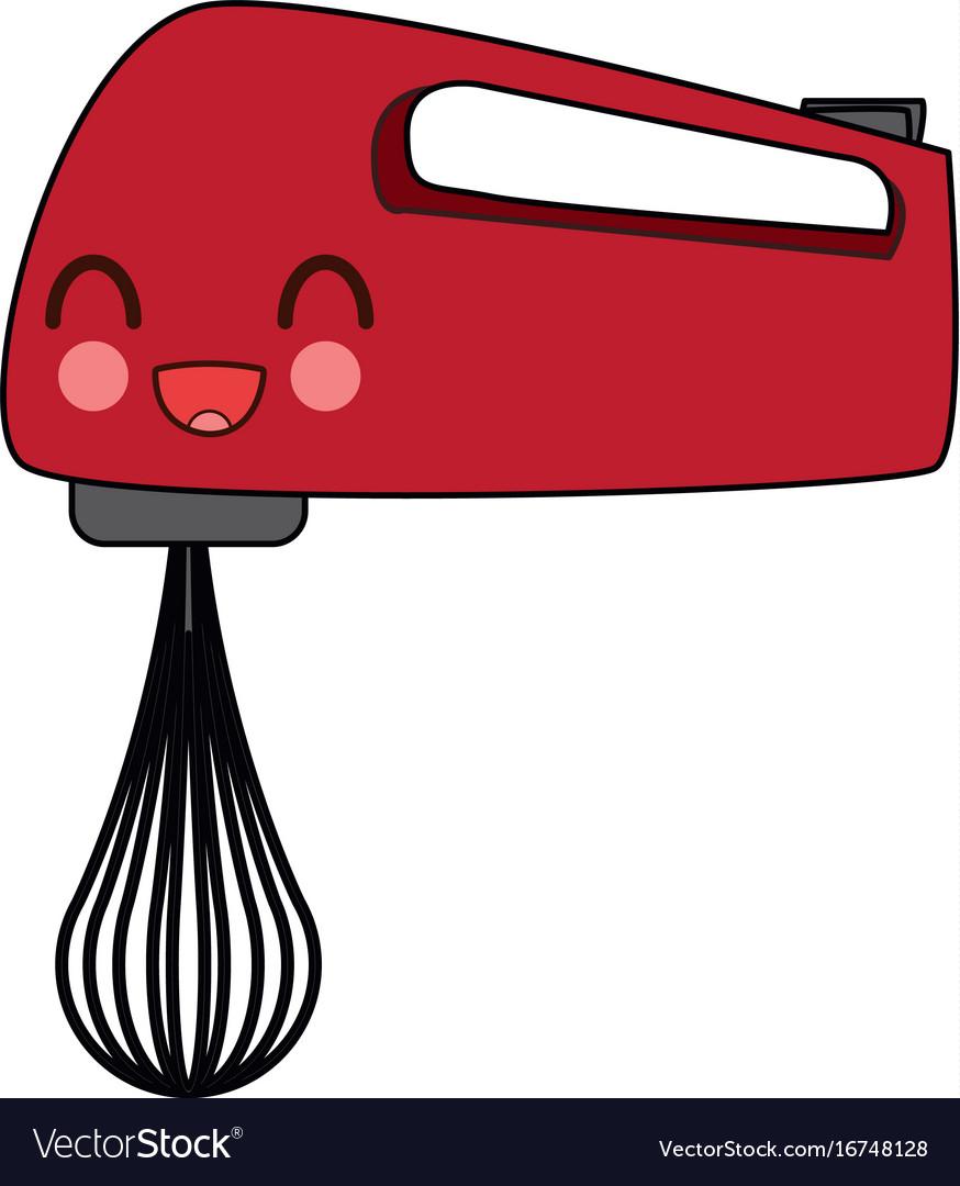 Kawaii Kitchen Hand Mixer Appliance Electricity Vector Image