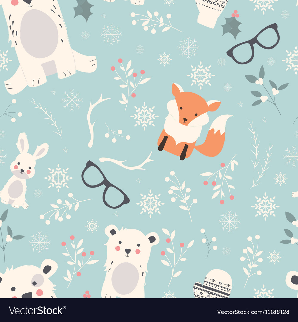 Seamless Merry Christmas pattern with cute animals