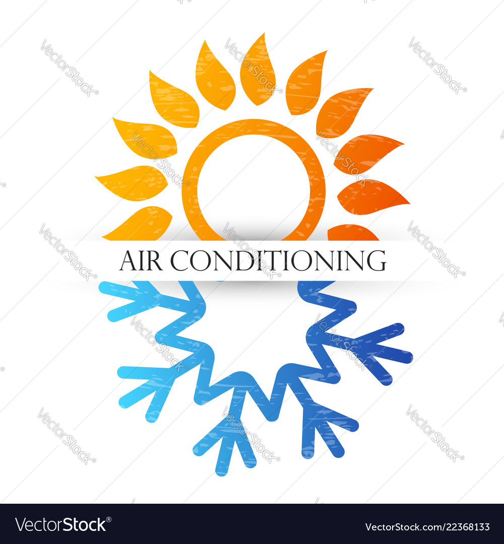 Air conditioning symbol with red and blue waves
