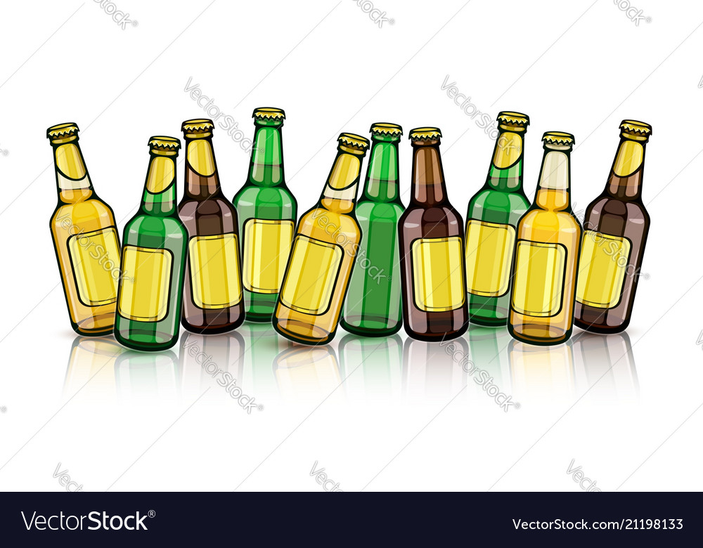 Beer bottles with empty labels
