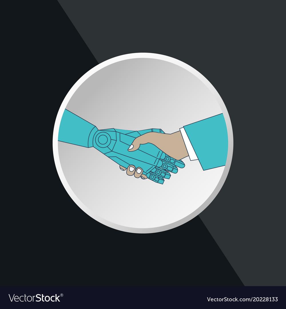 Business human and robot hands shake