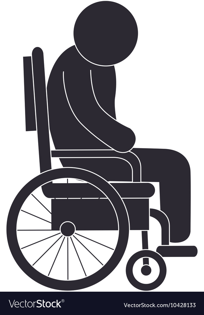 Handicapped wheelchair assistance vector image