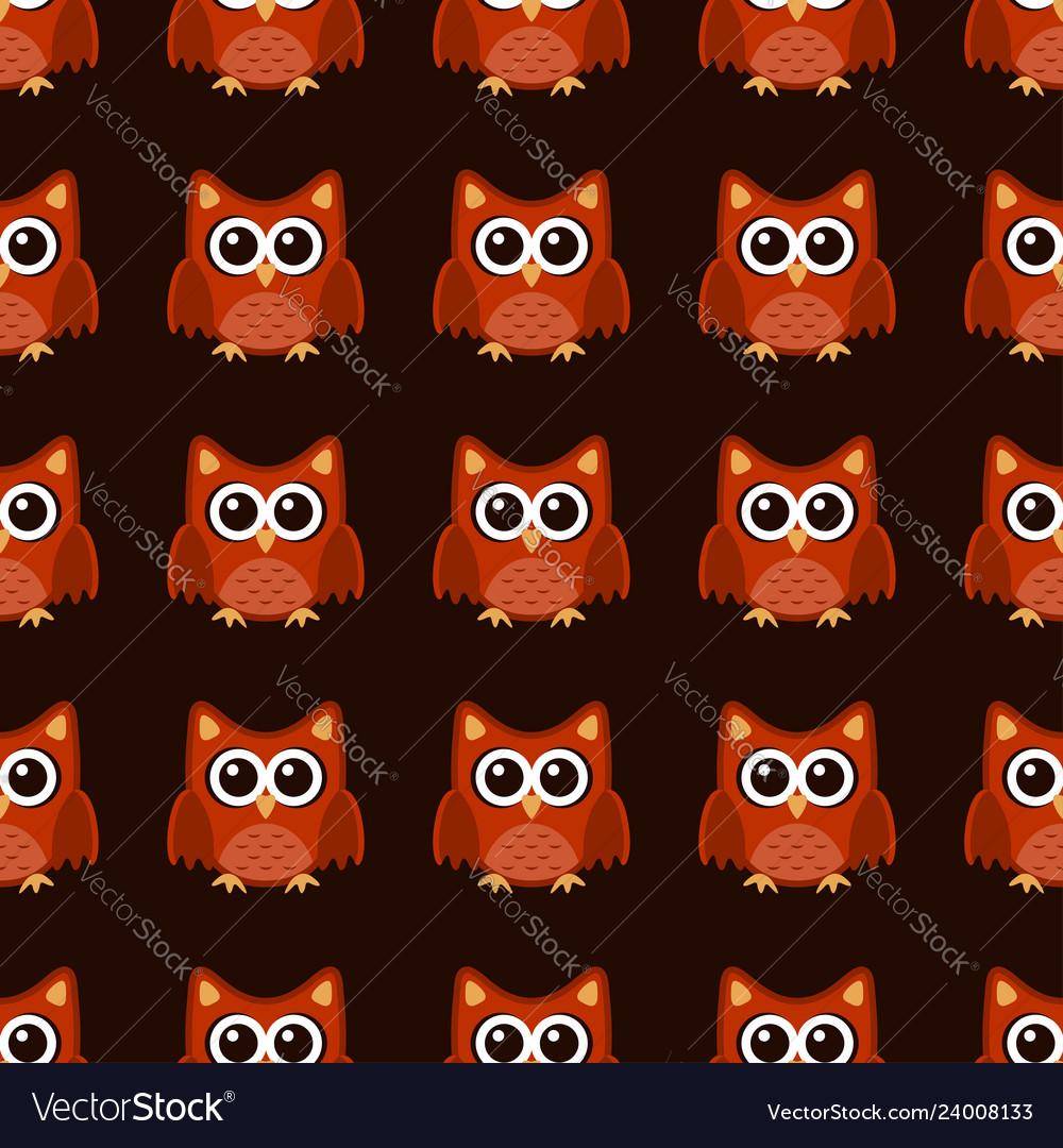 Owl stylized art seamless pattern brown orange