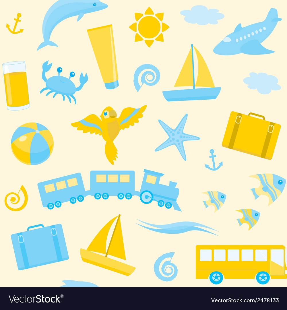 Seamless pattern with travel icons
