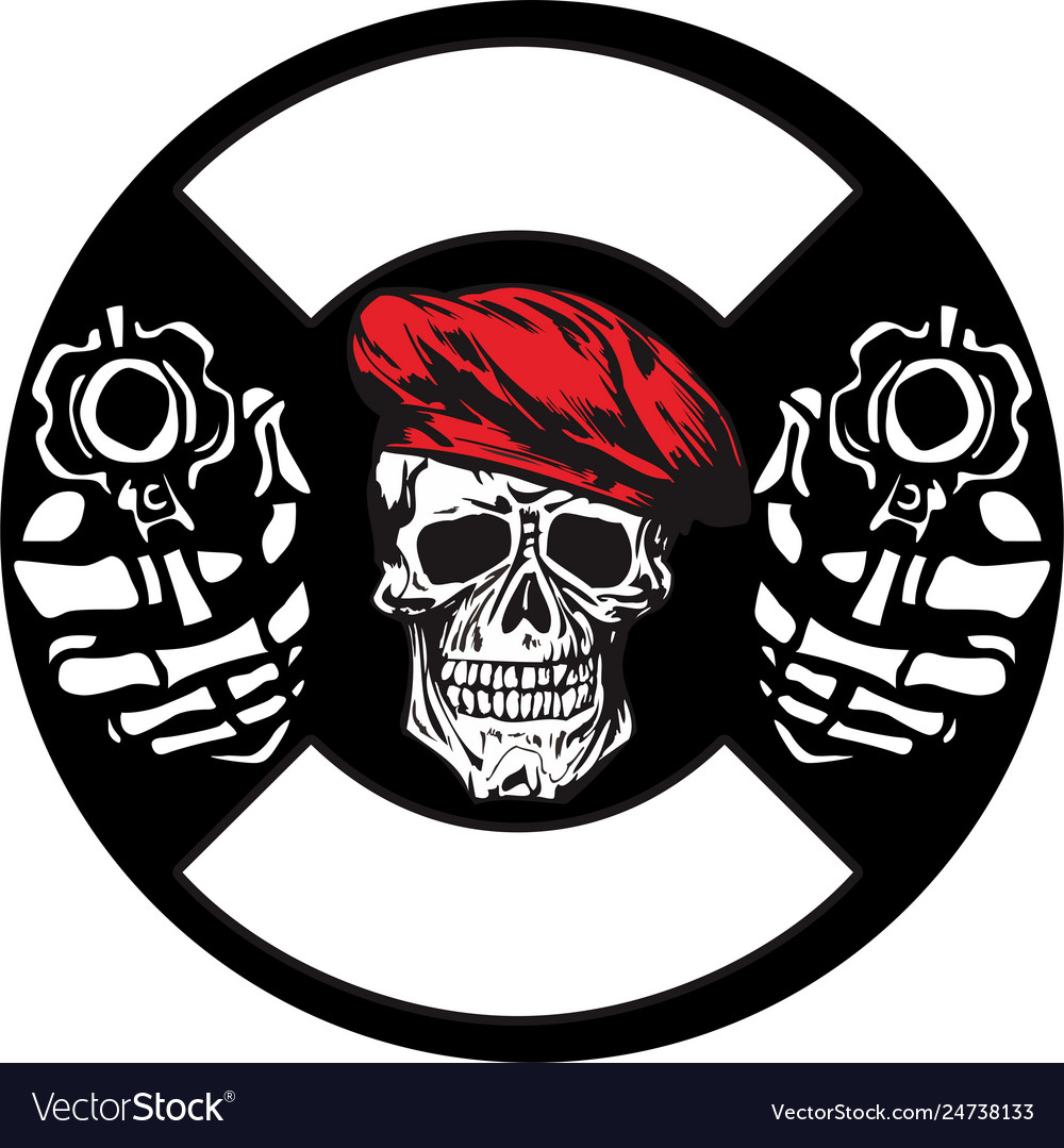 Skull army with gun hand drawing