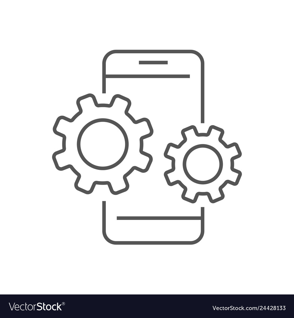 Smartphone device icon with gears settings in