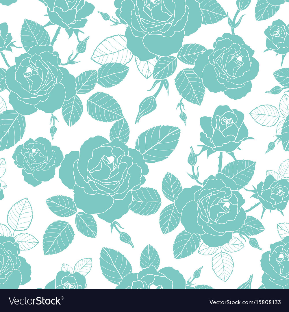 Vintage light blue and white roses and