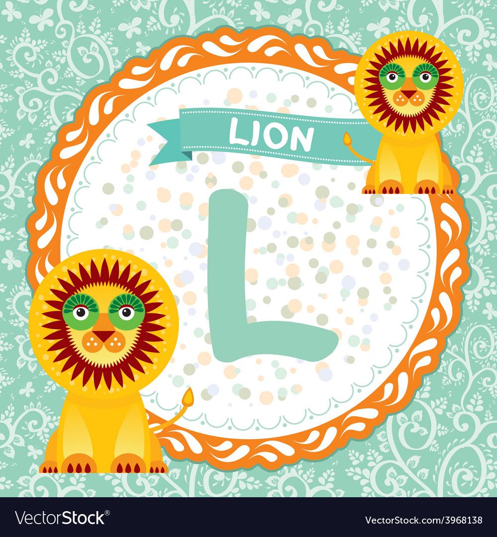 ABC animals L is lion Childrens english alphabet