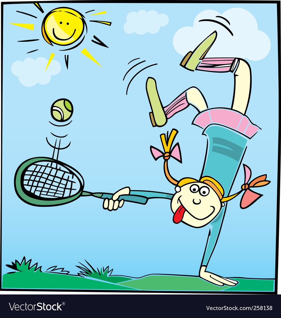 Cartoon girl playing tennis