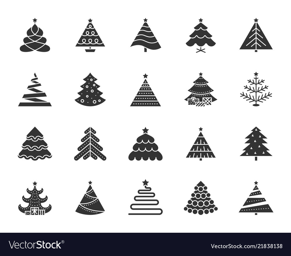 Christmas Trees Silhouette.Christmas Tree Black Silhouette Icons Set