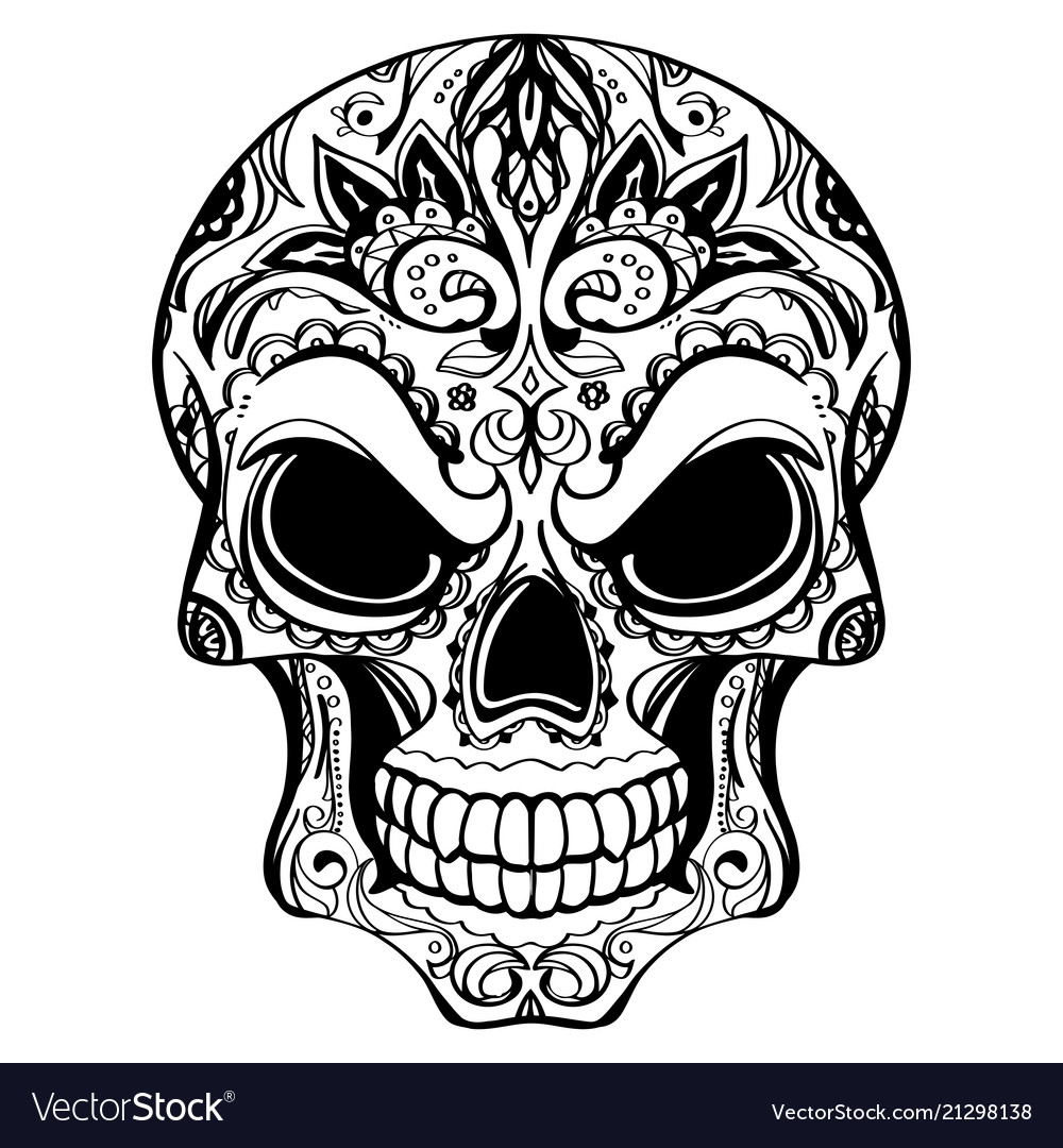 Day of the dead skull with floral ornament