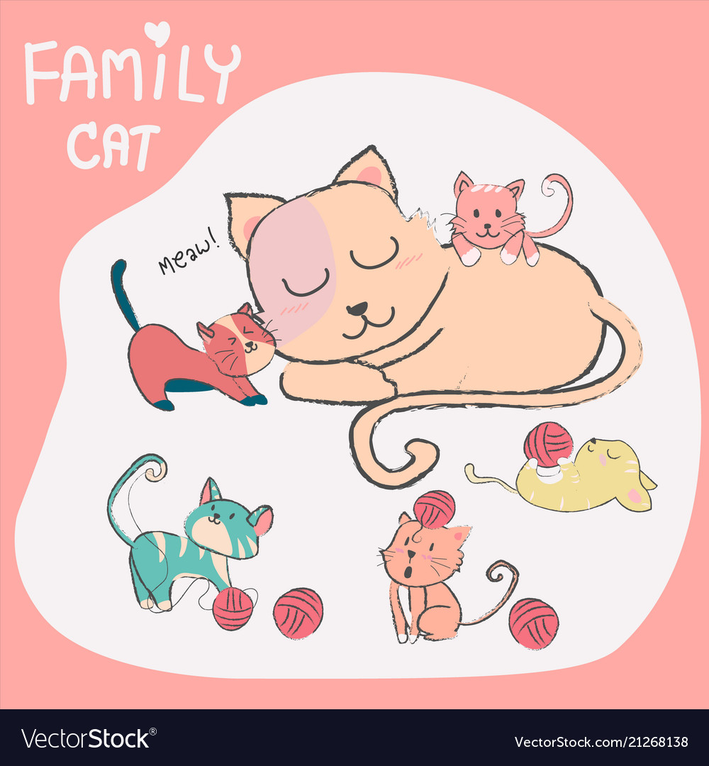 Doodle hand drawn cute cat with baby family