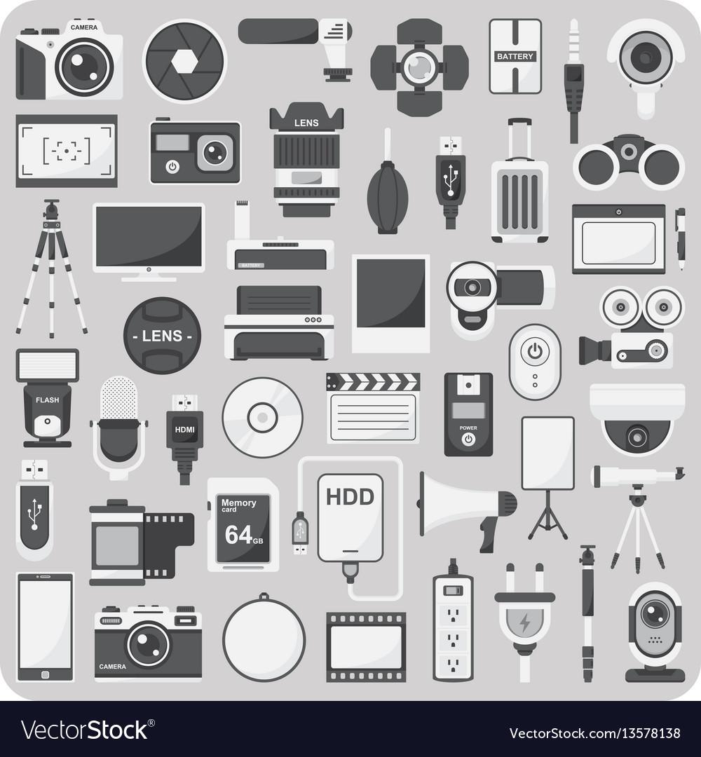 Flat icons camera set