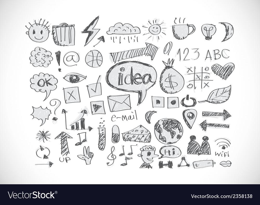 Hand doodle Business icon set idea design