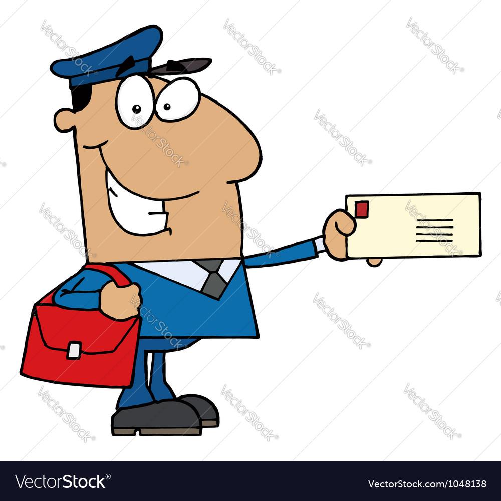 Hispanic Mail Man Holding A Letter