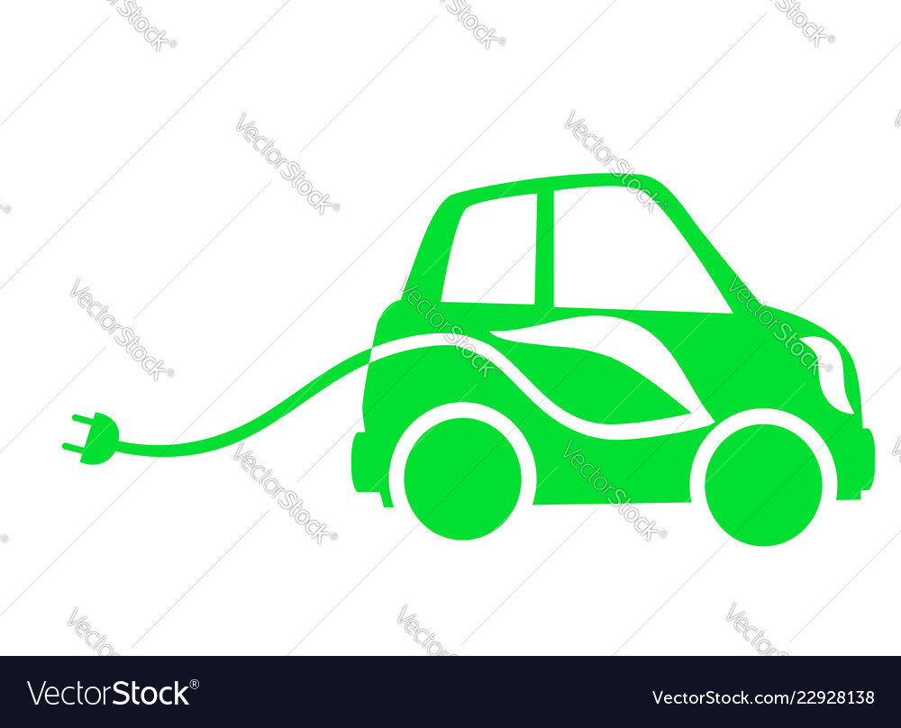 Icon Green Electric Cars Royalty Free Vector Image