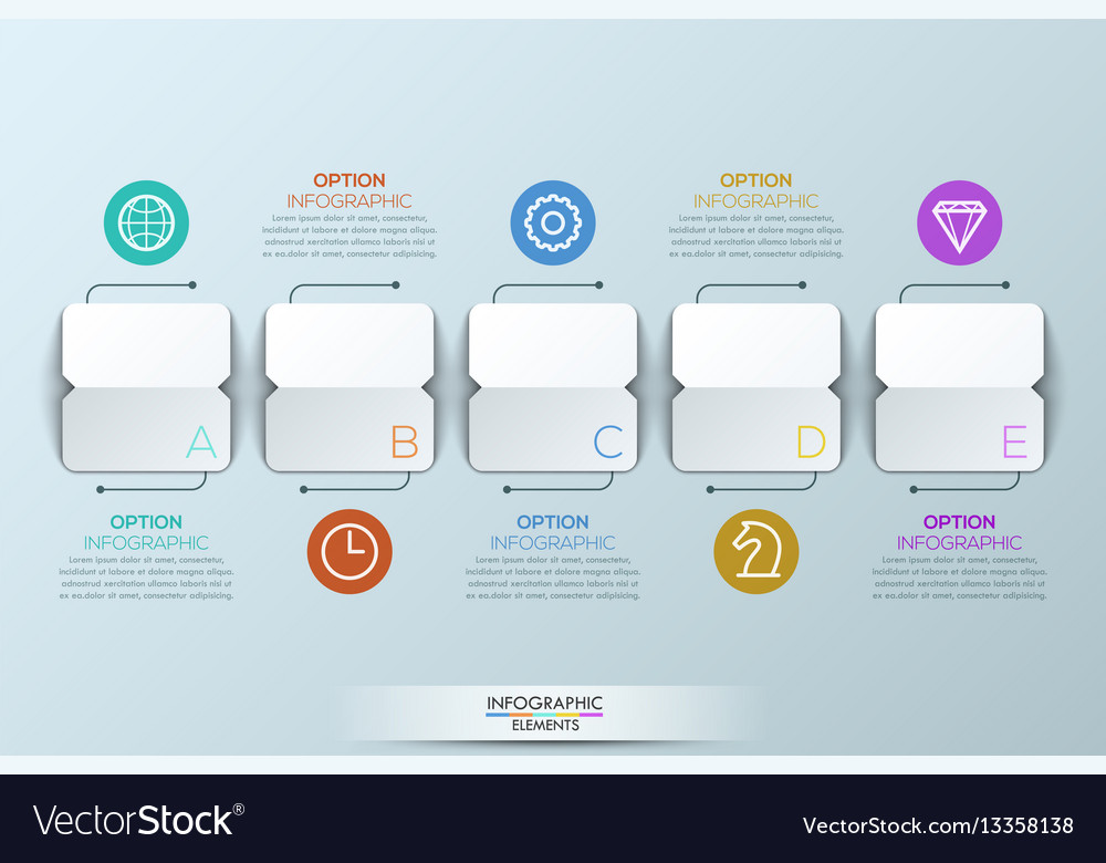 Infographic design template with 5 squared paper vector image