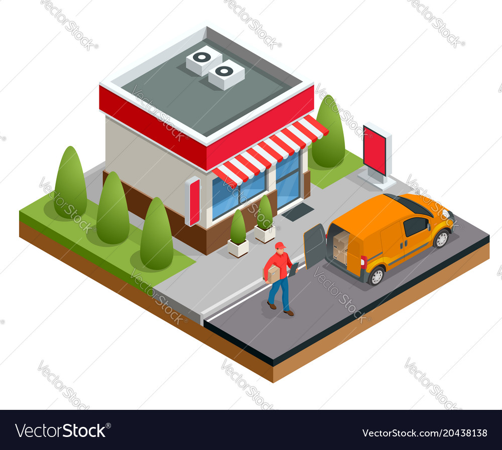 Isometric fast food restaurant or shop buildings