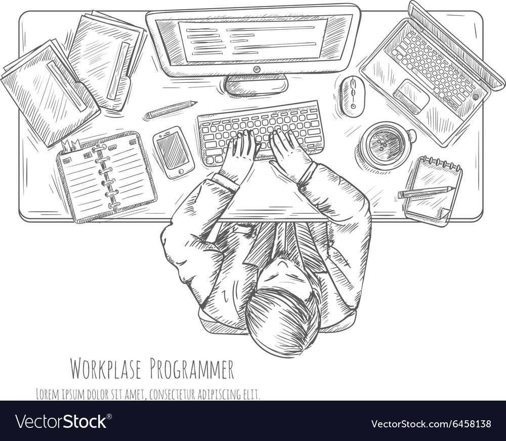 Programmer Work Place Sketch vector image