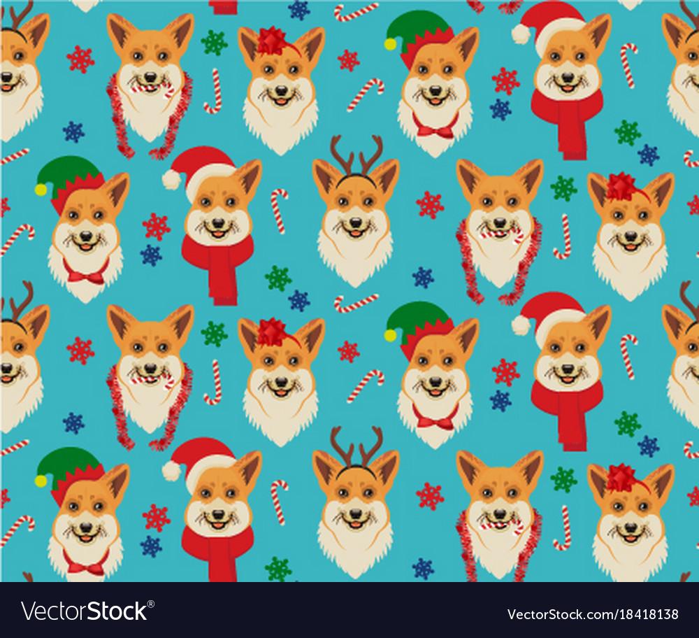 Seamless christmas pattern with corgis
