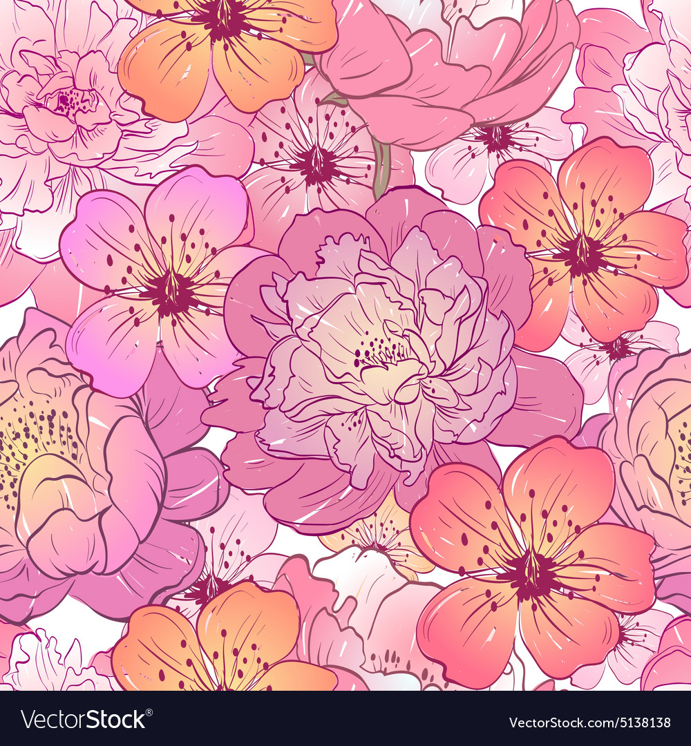Seamless Floral Pattern Backgrounds Royalty Free Vector