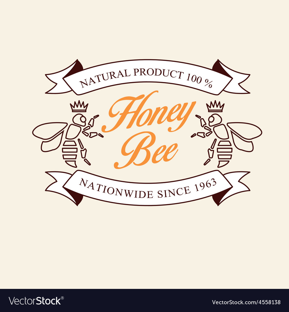 Set of honey and bees labels badges