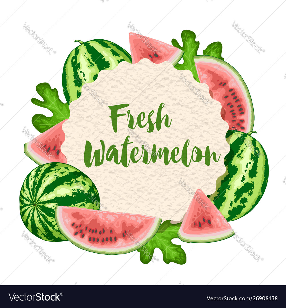 Summer label with watermelon