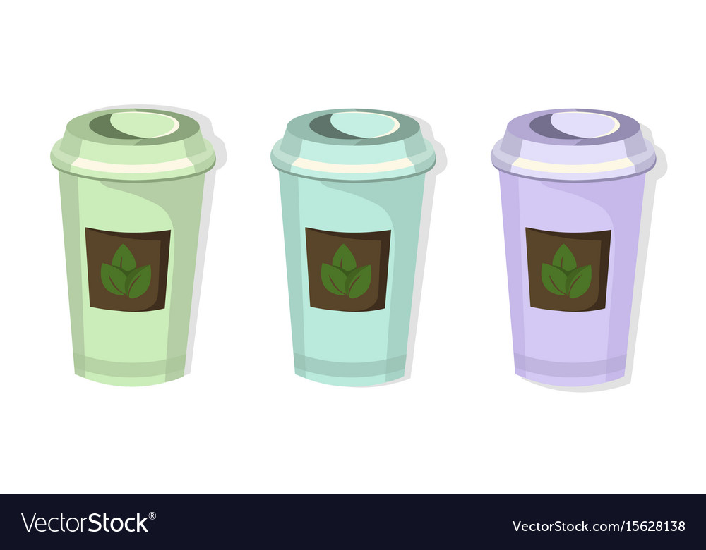Tea Paper Cups Set Icon Template Pink Quartz And Vector Image