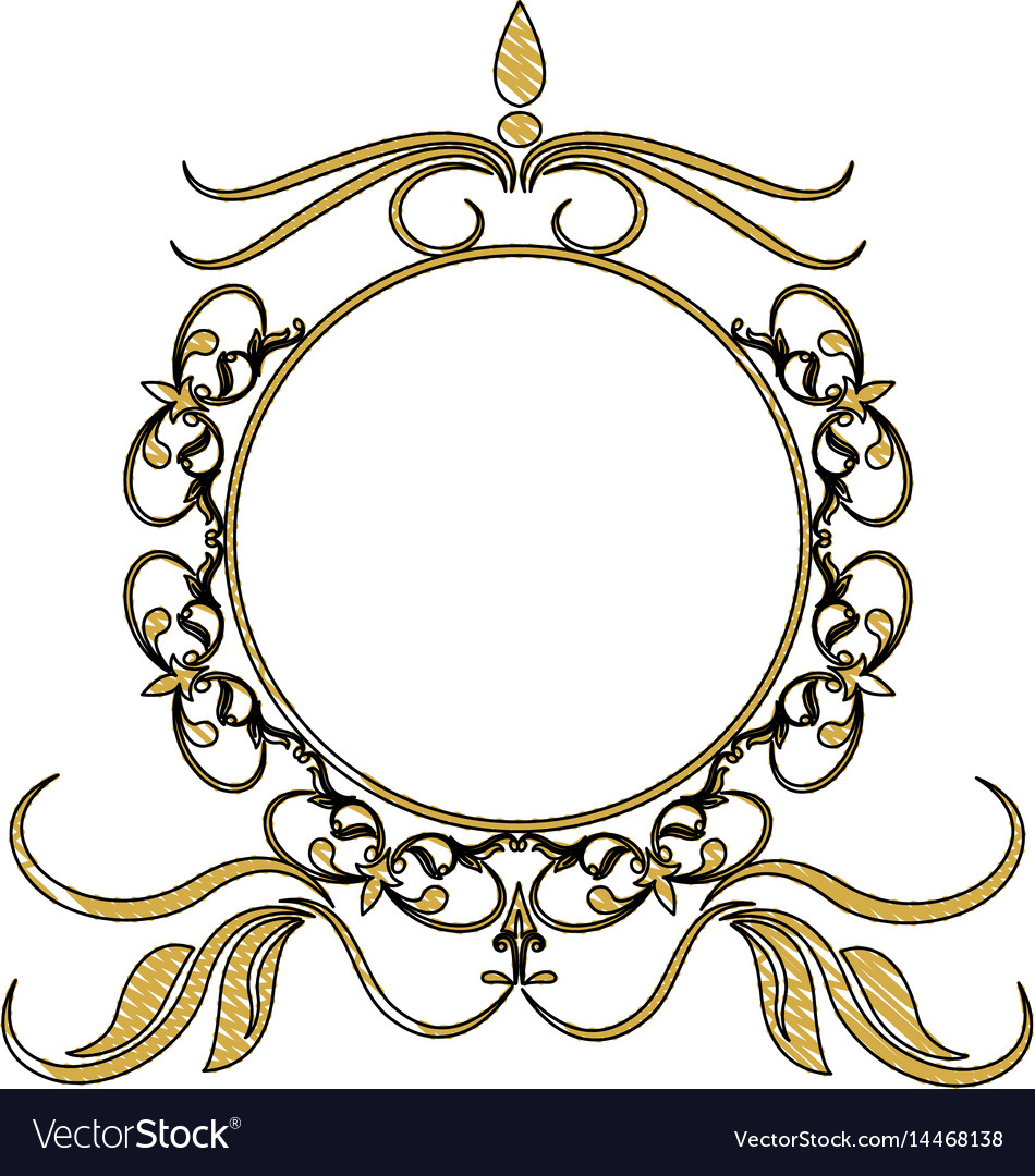 Vintage round swirl flourish decoration frame