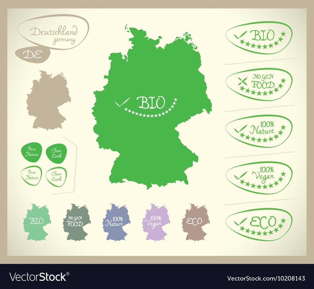 Bio Map DE Deutschland Germany Royalty Free Vector Image