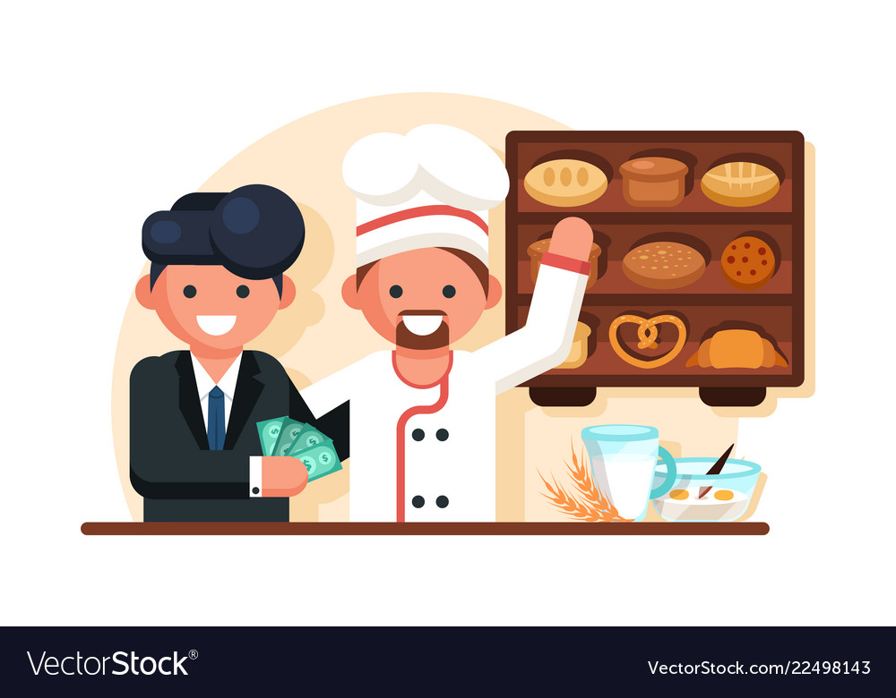 Businessman giving money man chef in bakery shop