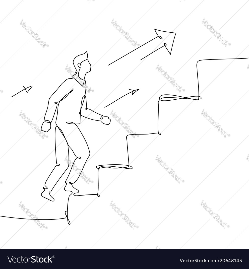 Businessman going up a ladder - one line design vector image