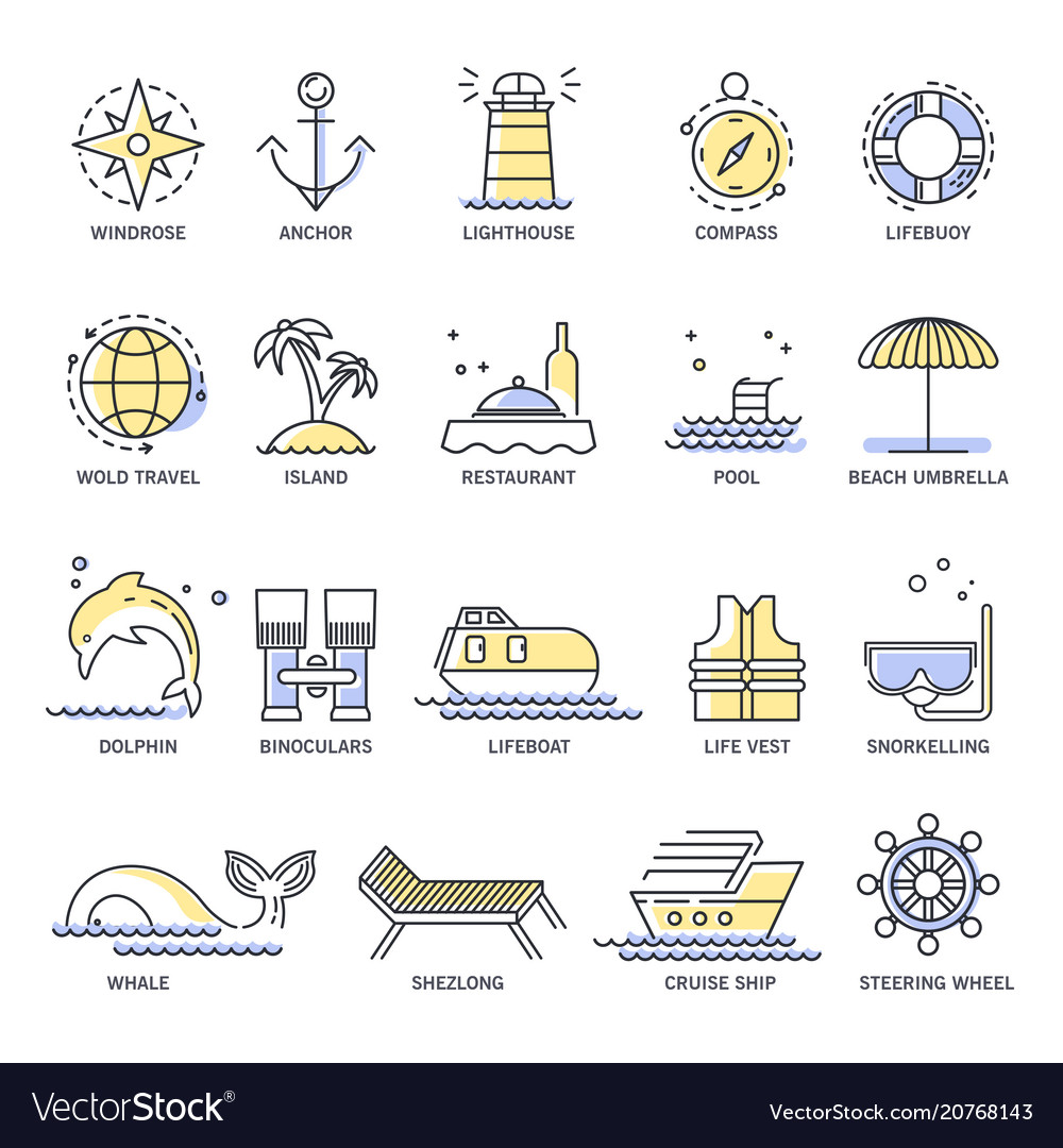 Cruise travel or summer vacation line icons