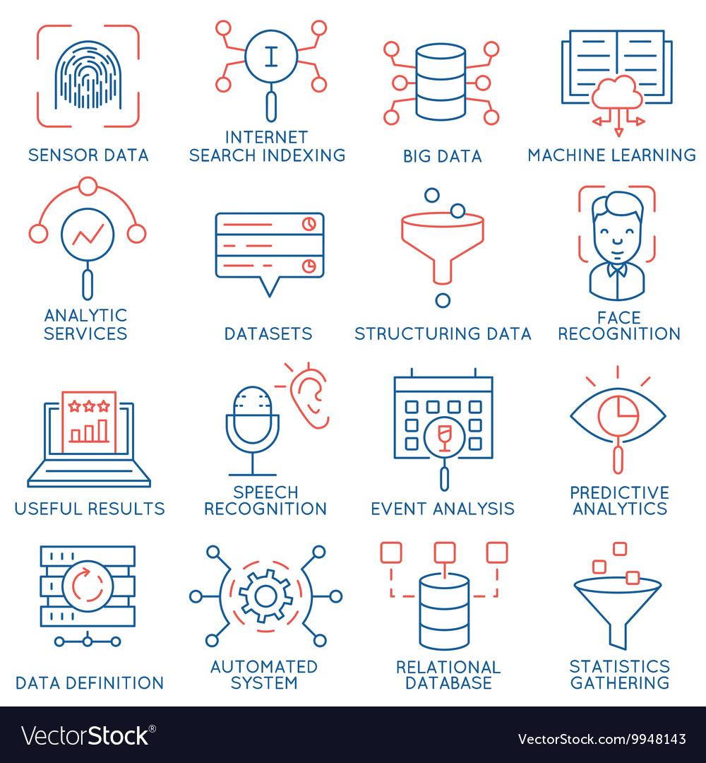 Data management analytic service icons 1 vector image