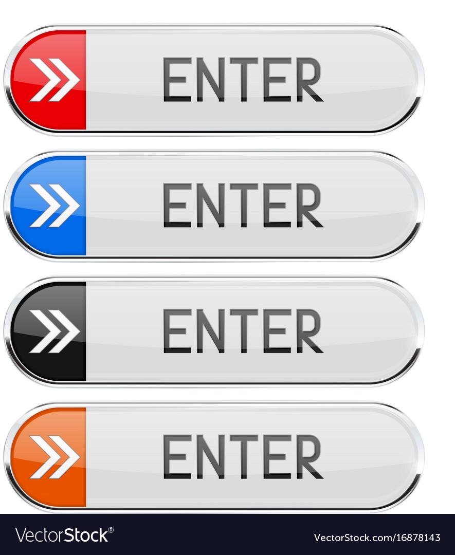 Enter button with chrome frame rectangle button