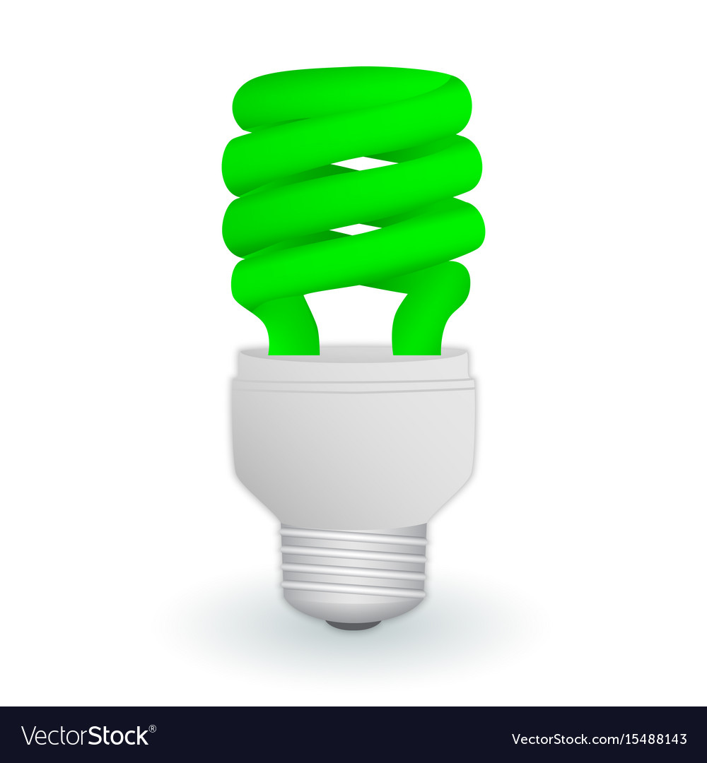 Fluorescent green economical light bulb isolated