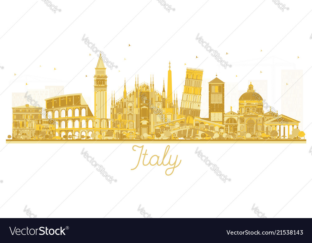Italy city skyline golden silhouette with