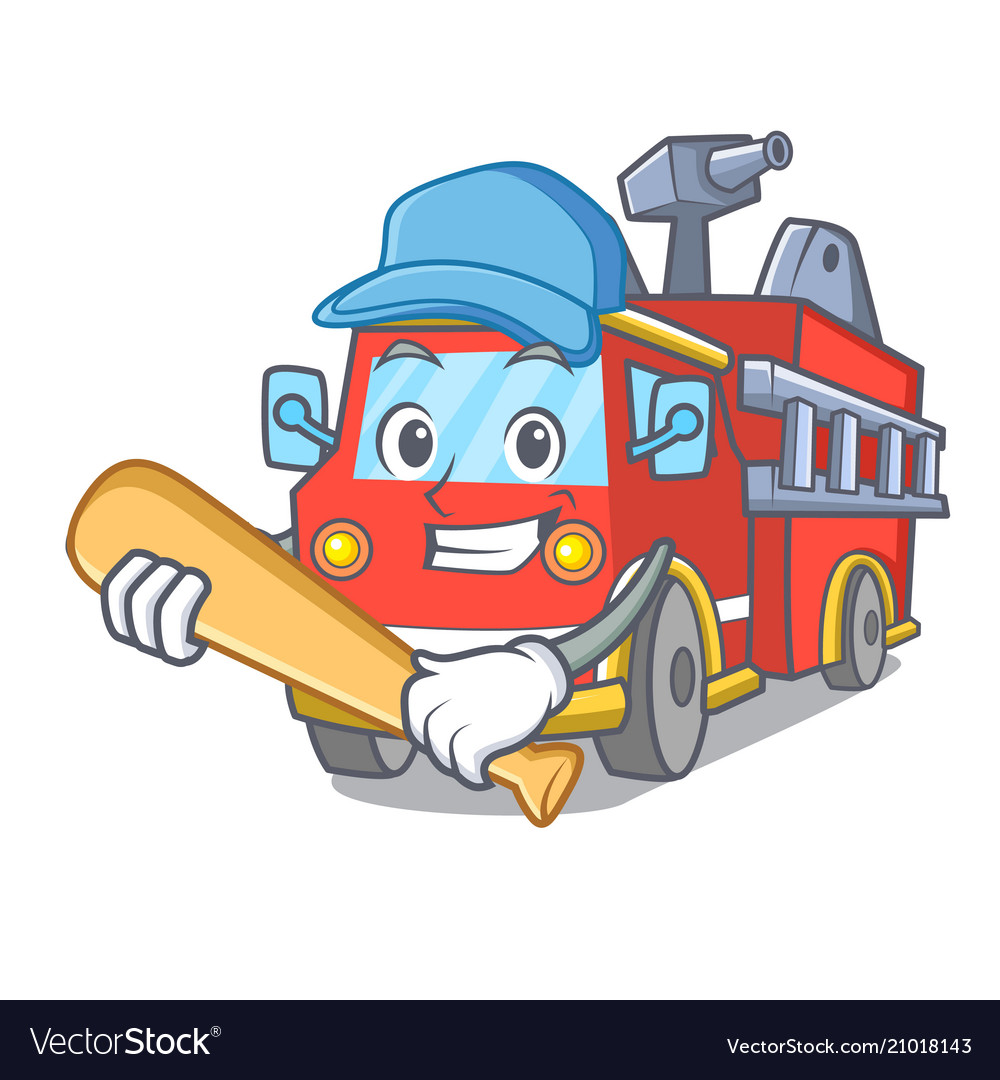 Playing Baseball Fire Truck Character Cartoon