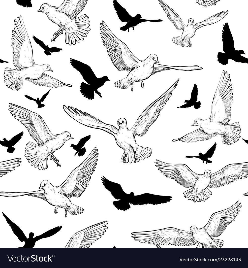 Seamless pattern with birds silhouette