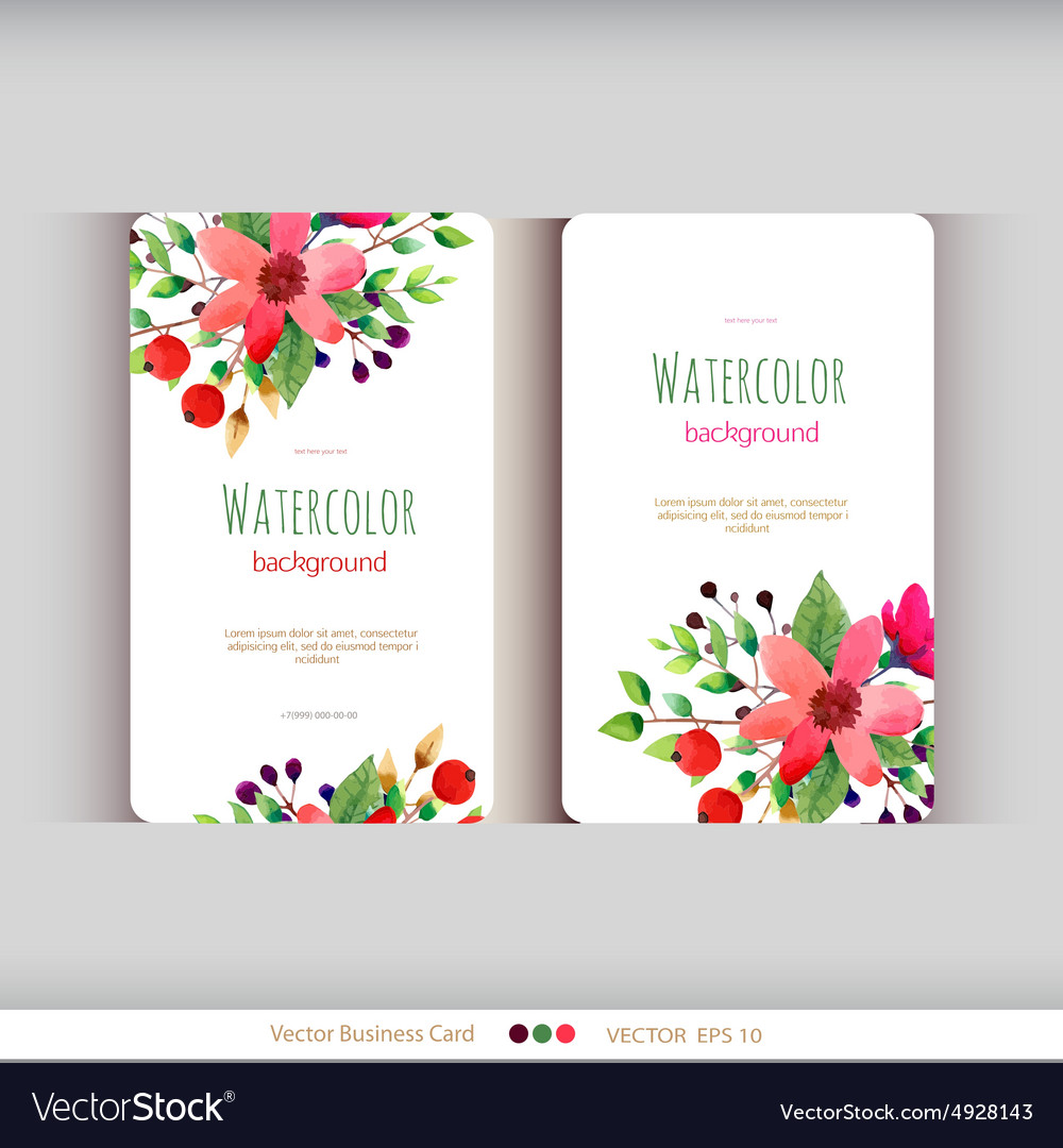 Set of abstract watercolor cards