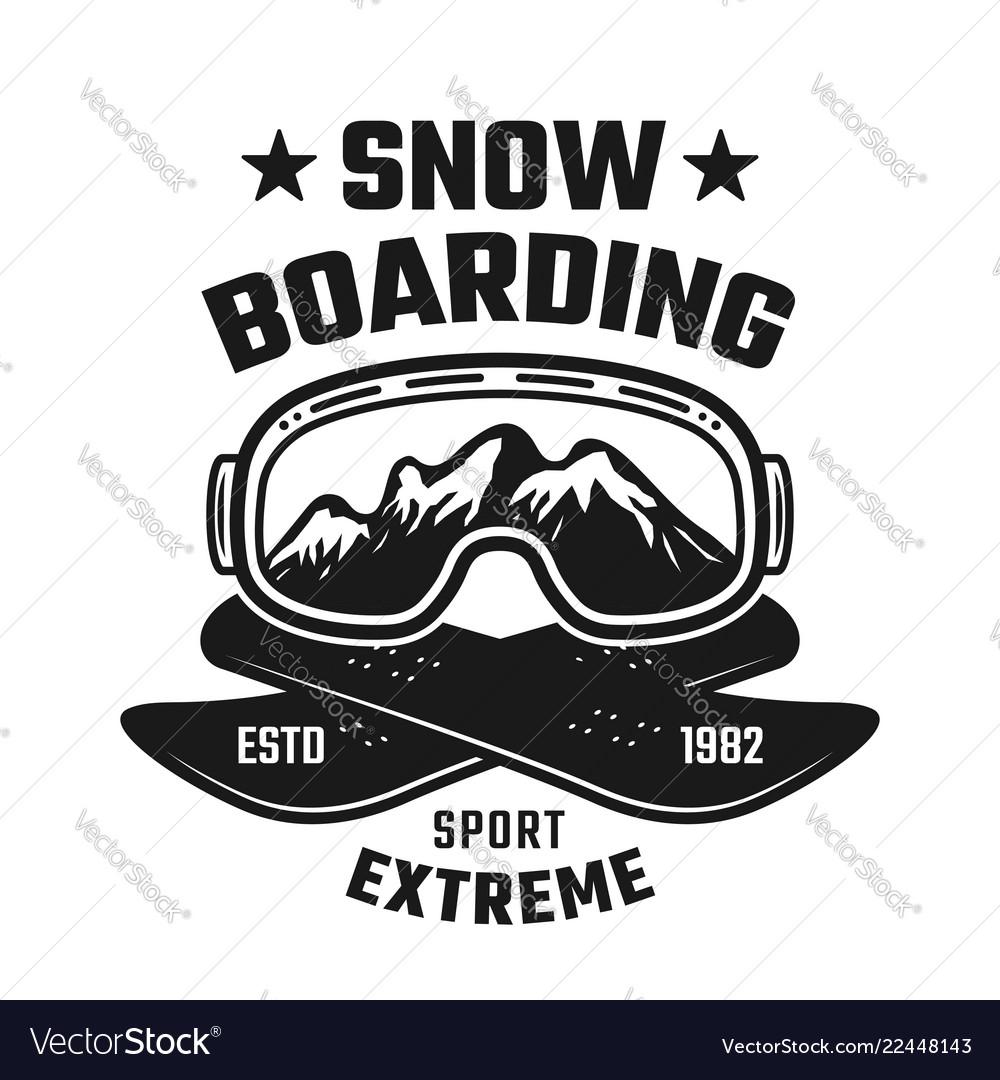 Snowboarding winter extreme sport emblem