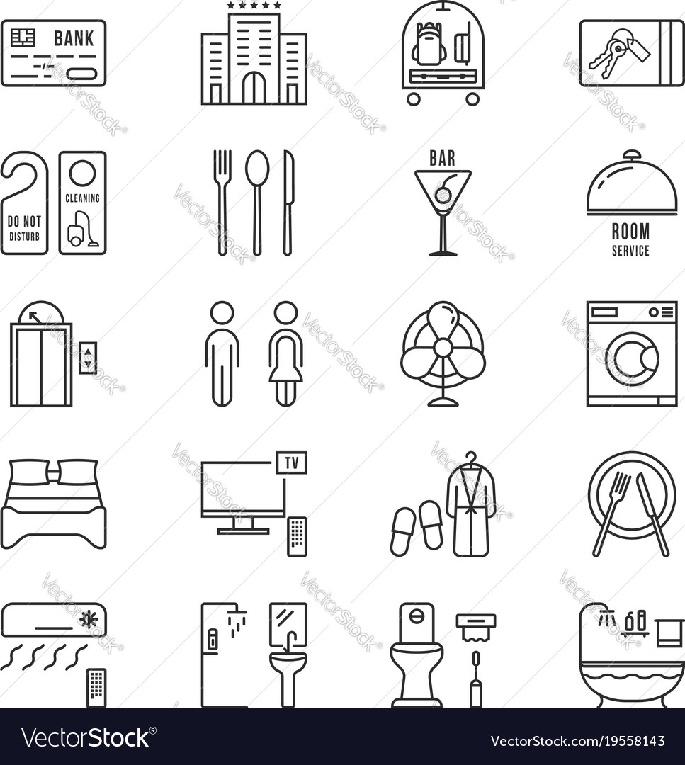 Thin line icons set hotel and rest